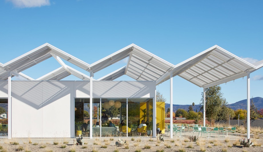 Ashes + Diamonds is defined by a canopy resembling a folded-plate roofline.