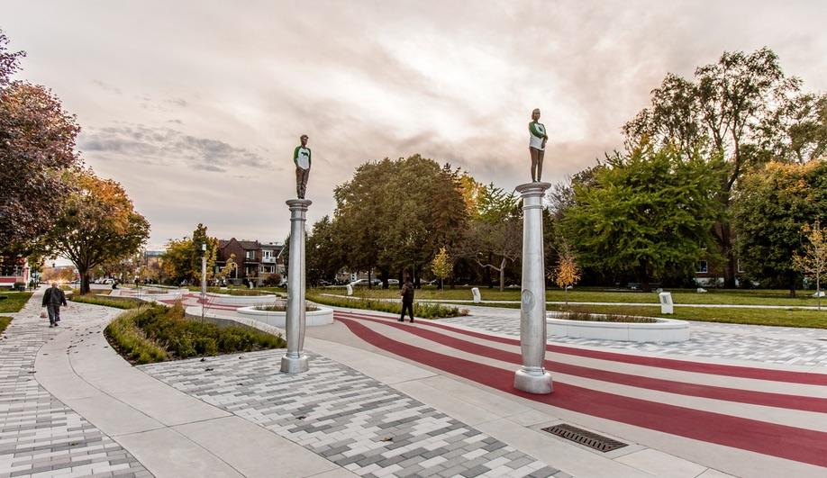 Jean-Robert Drouillard's installation at Parc Guido-Nincheri.