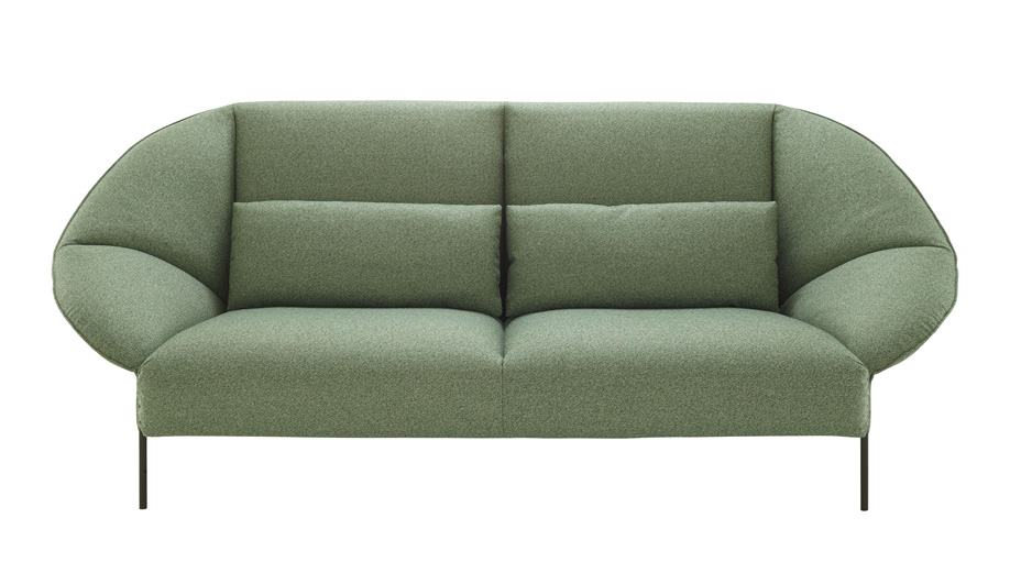 Green furniture at IMM Cologne: Paipaï settee by LucidiPevere