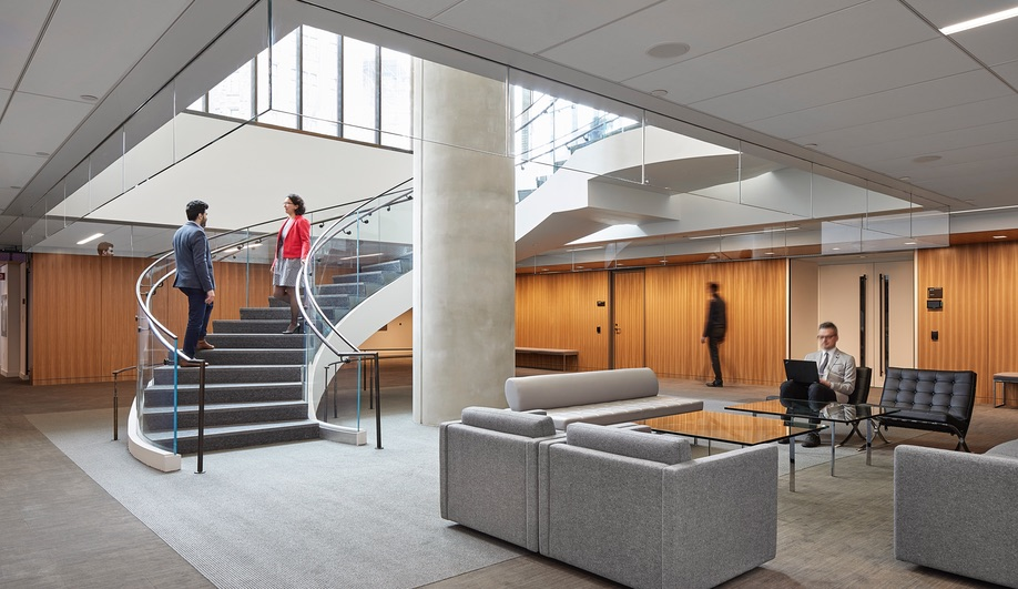 Bank of Canada renewal: Perkins+Will's Andrew Frontini modernized, but preserved, Erickson's signature interior details.