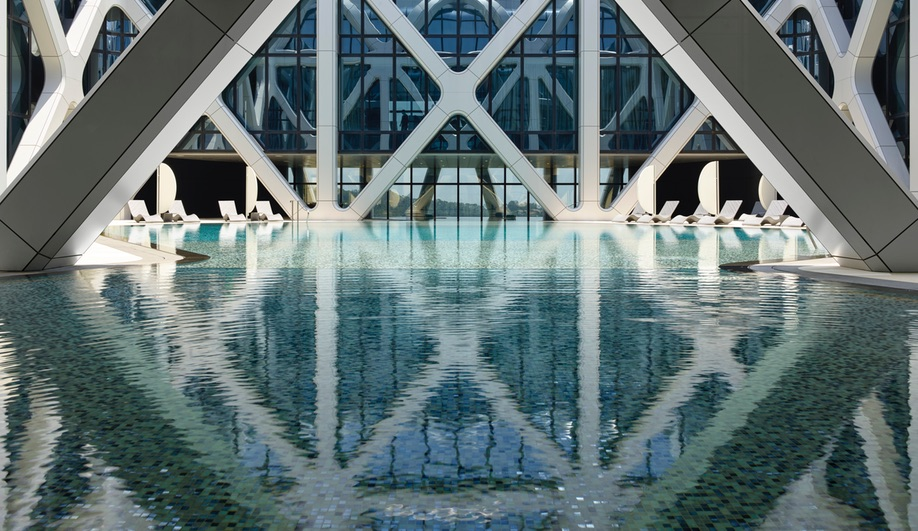 The reflecting pool at Zaha Hadid Architects' Morpheus Hotel in Macau.