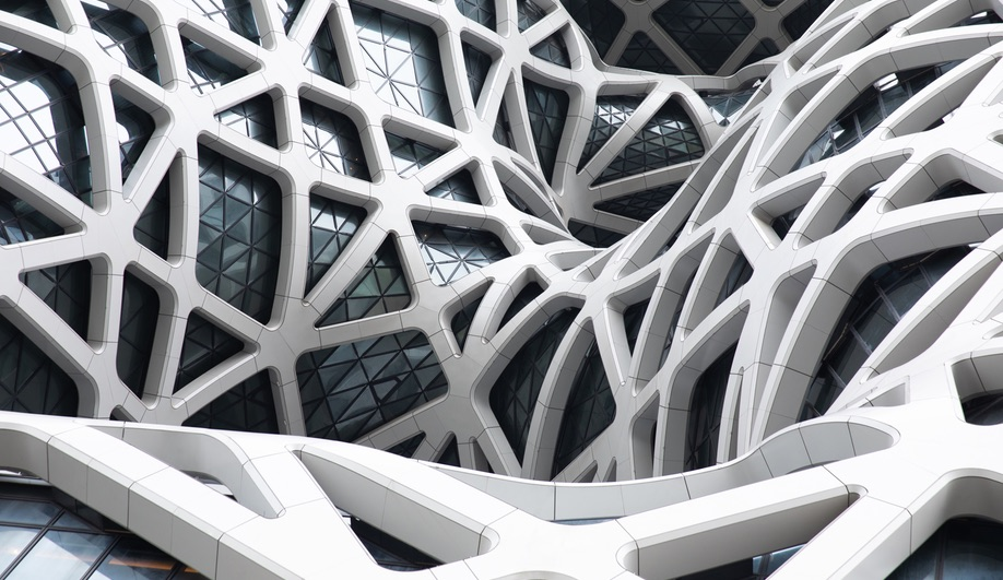 Detail of the exoskeleton at Zaha Hadid Architects' Morpheus Hotel in Macau.