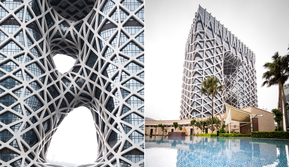 The exoskeleton of Zaha Hadid Architects' Morpheus Hotel in Macau.