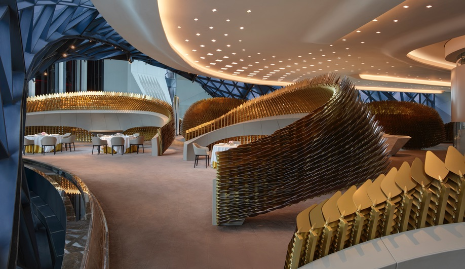The dining enclosures at Zaha Hadid Architects' Morpheus Hotel in Macau.