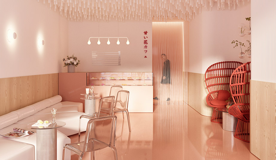 Washed in Pink, a Japanese Dessert Shop In Kiev Strikes a Sweet Note