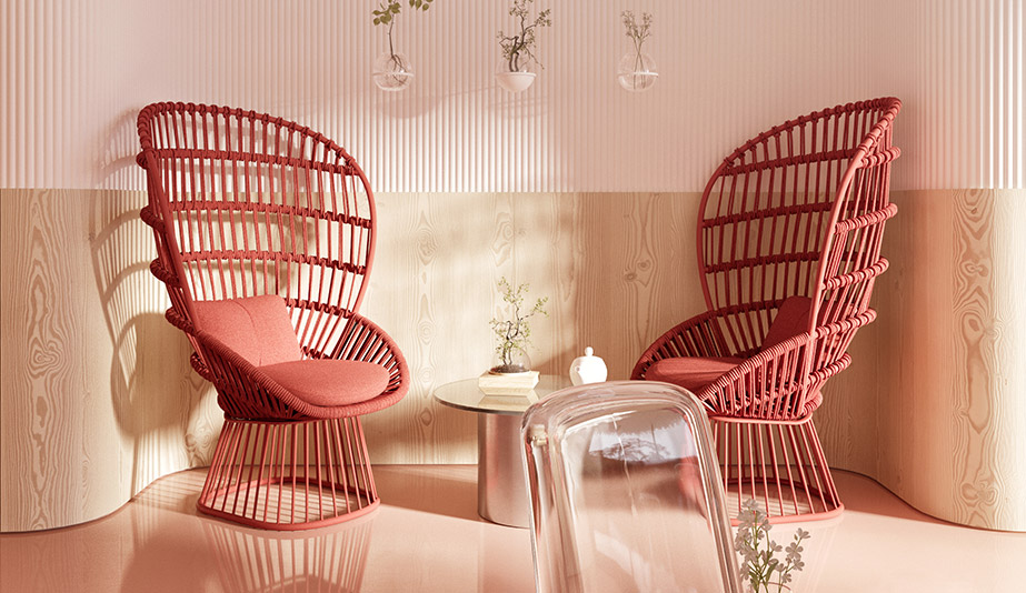 Cala chairs by Kettal add a sculptural element of Amai Hana by Z. River Studio.