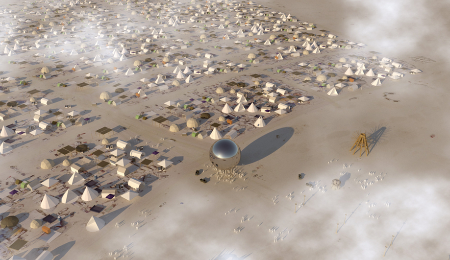 A rendering of the Bjarke Ingels Orb at Burning Man 2018