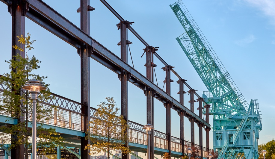 A gantry crane at Domino Park in Brooklyn, the site of a former Domino Sugar Factory