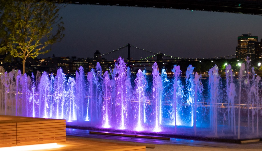 Water Square at Domino Park in Brooklyn, the site of a former Domino Sugar Factory
