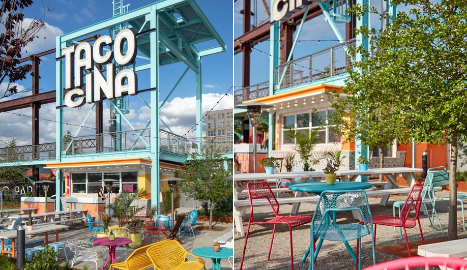 Tacocina at Domino Park in Brooklyn, the site of a former Domino Sugar Factory
