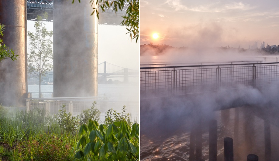 Fog rolls in at Domino Park in Brooklyn, the site of a former Domino Sugar Factory