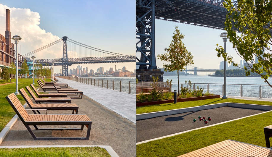 Seating and bocce courts at Domino Park in Brooklyn, the site of a former Domino Sugar Factory