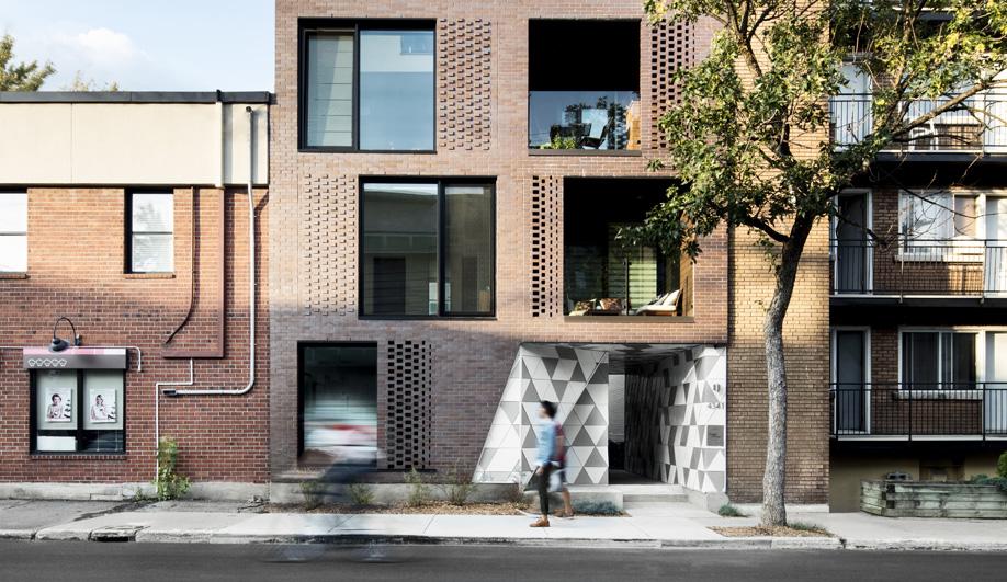 The brick facade of ADHOC architectes' La Geode