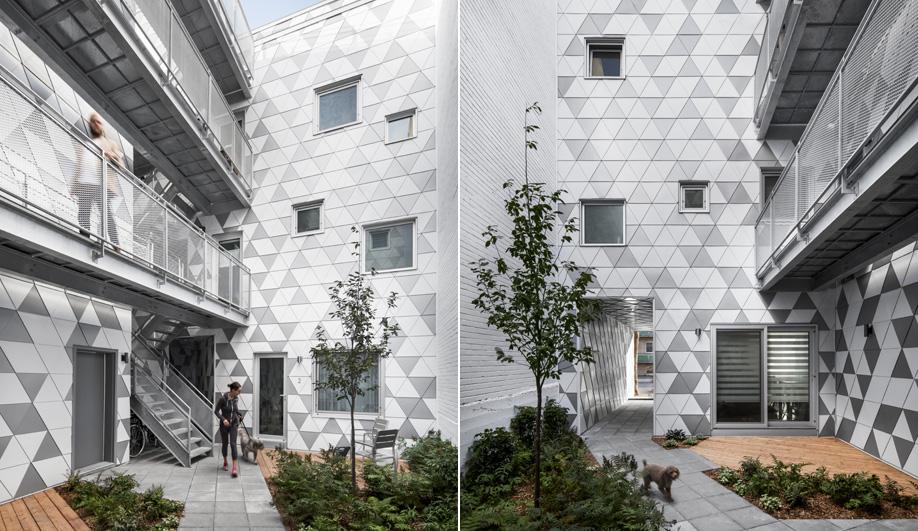 The geometric courtyard in ADHOC architectes' La Geode