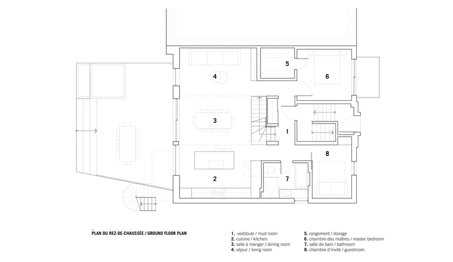 The floor plan of Bessborough House, an NDG reno by _naturehumaine