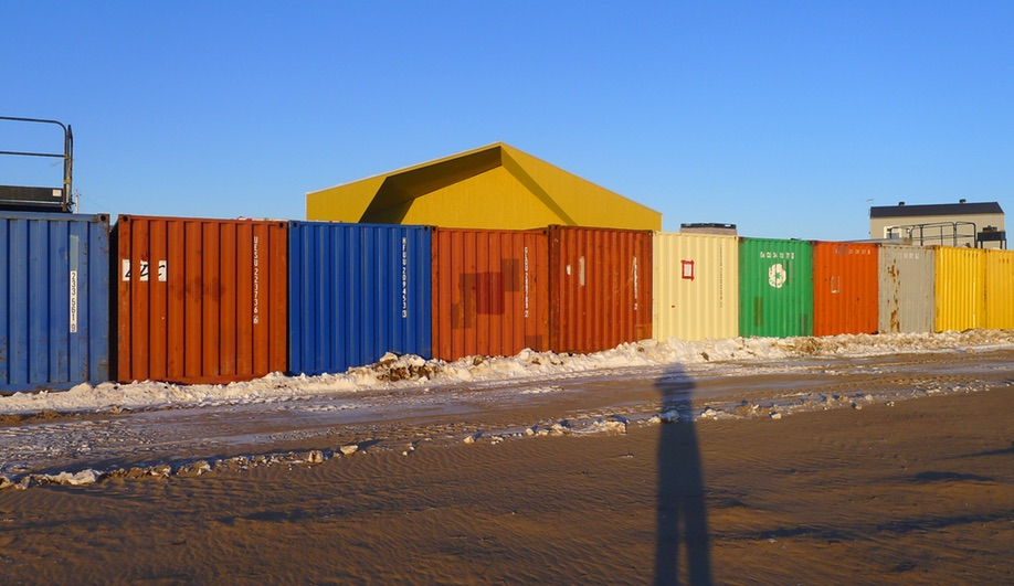 Shipping containers outside the Nunavik cultural centre in Kuujjuaraapik