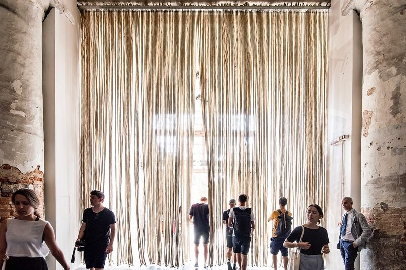 The entrance to Grafton Architects' Freespace exhibition in the Arsenale is hung with ropes – a reference to the mooring lines that were once manufactured there. (Photo by Alex Fradkin)