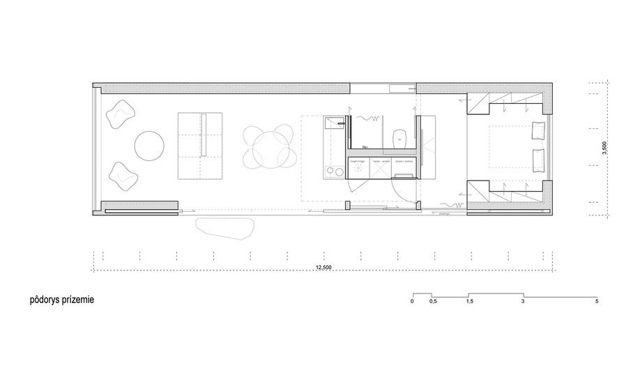 The floor plan of Ark Shelter's Into the Wild Cabin