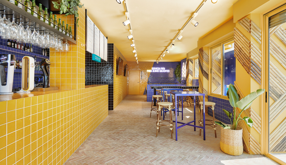 Bar Toro Design: The Ibiza tapas bar is lined with yellow tile and pops of green.