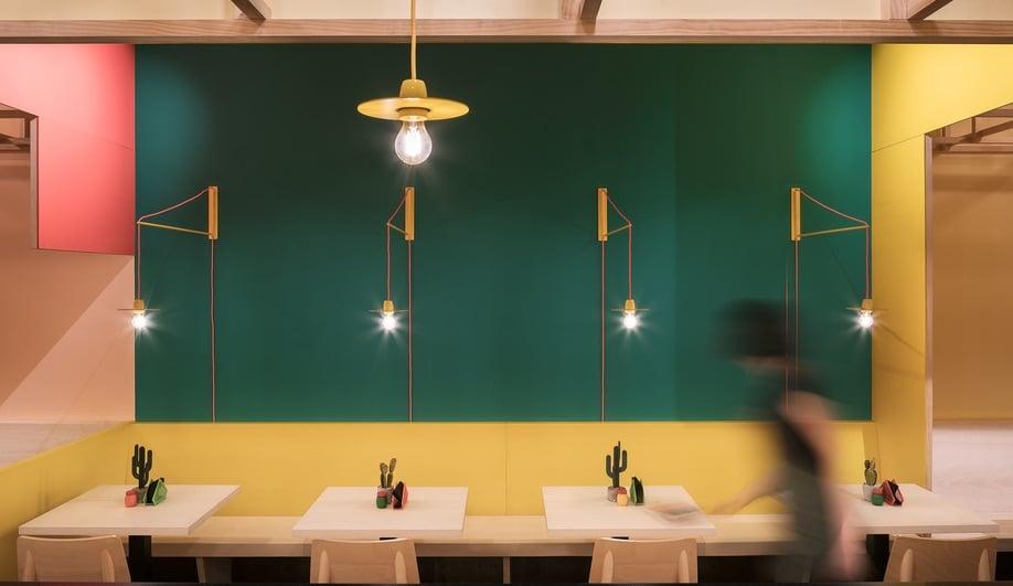 Erbalunga Estudio's Sierra Madre features industrial-style lights