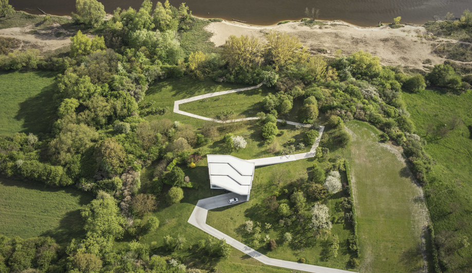 An aerial view of By the Way House, designed by KWK Promes