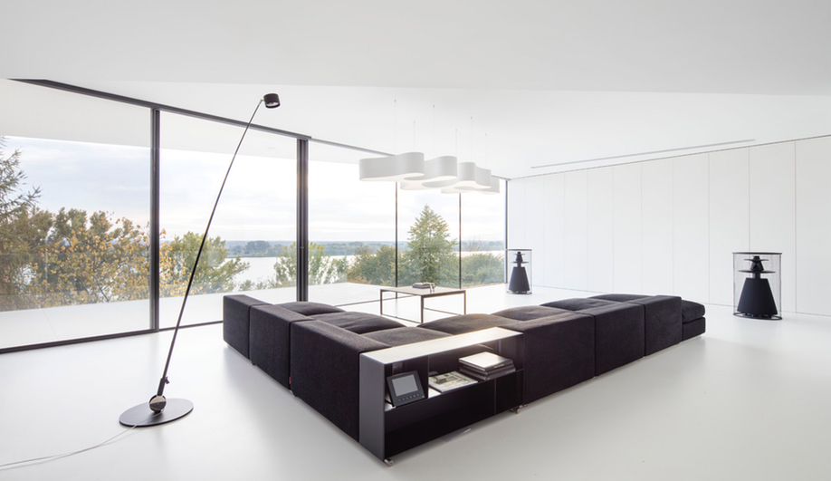 The living space in By the Way House, designed by KWK Promes