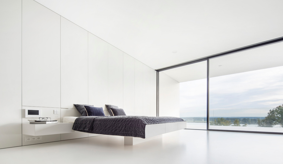 The master bedroom in By the Way House, designed by KWK Promes