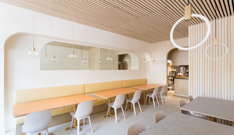 Emily Danylchuk designed Vancouver tonkatsu restaurant Saku, which features slatted-wood drop ceilings.