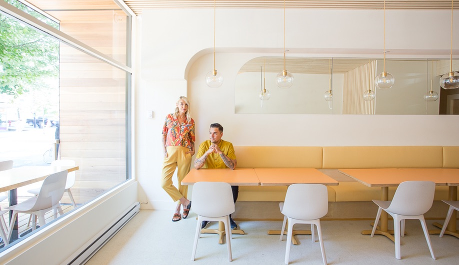 Emily Danylchuk, left, designed Vancouver tonkatsu restaurant Saku, while her husband Nathan provided contracting work.