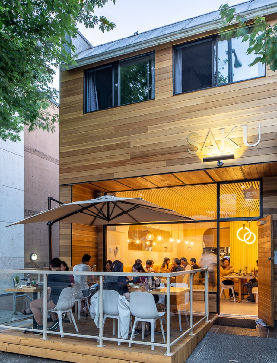 Emily Danylchuk designed Vancouver tonkatsu restaurant Saku, whose pale palette is inviting from the street.