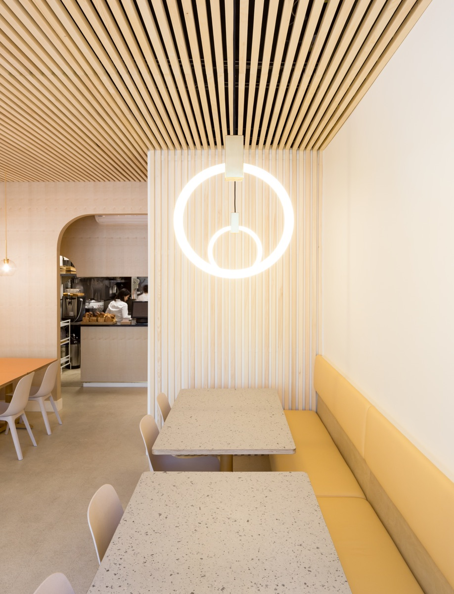 Emily Danylchuk designed Vancouver tonkatsu restaurant Saku, which features Halo pendants by Matthew McCormick.