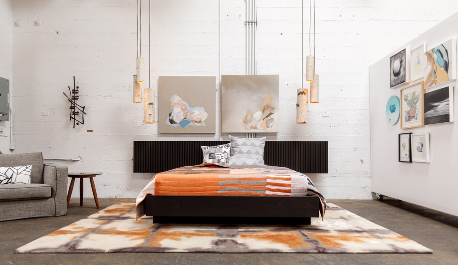 A glimpse at Address Assembly, founded by Vancouver designer Kate Duncan: Duncan's bed