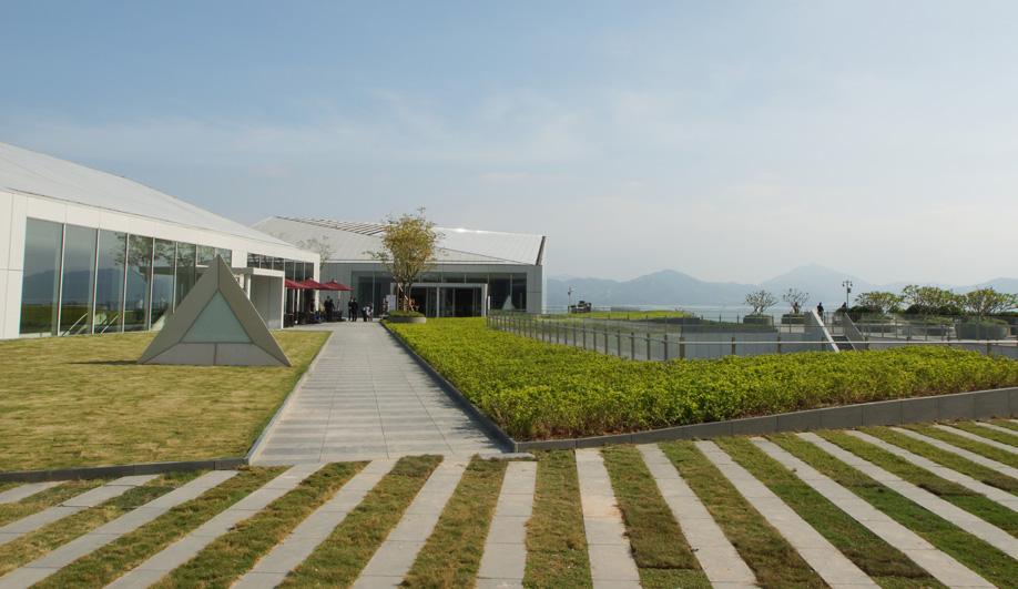 The exterior of Fumihiko Maki's Sea World Culture and Arts Center in Shenzhen