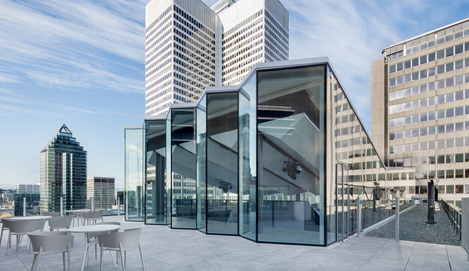 Espace C2, a venue perched on the Fairmont Montreal rooftop, is a building inside a building.