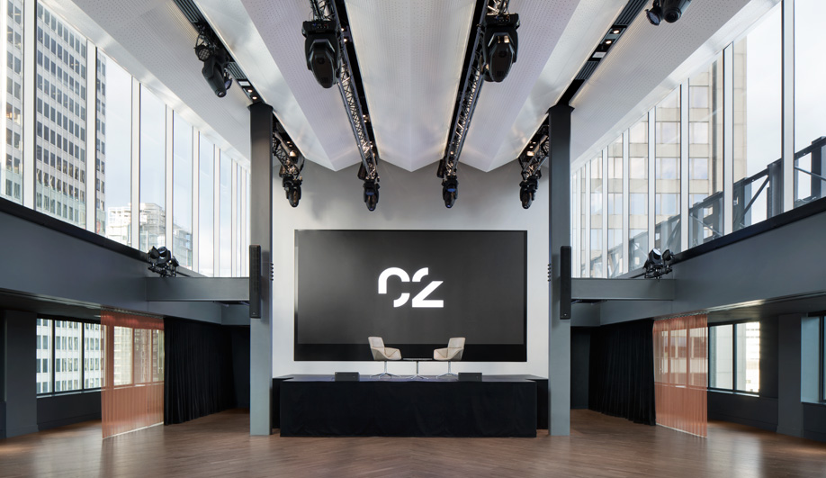 The six-metre screen in Espace C2, a venue perched on the Fairmont Montreal rooftop.