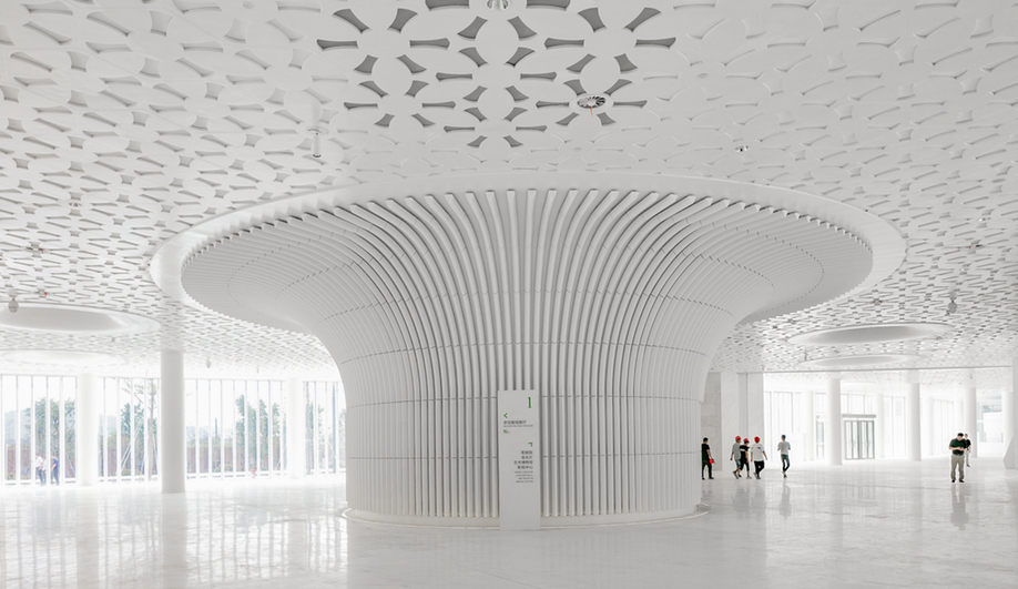 Fuzhou Strait Culture and Art Centre's mushroom columns