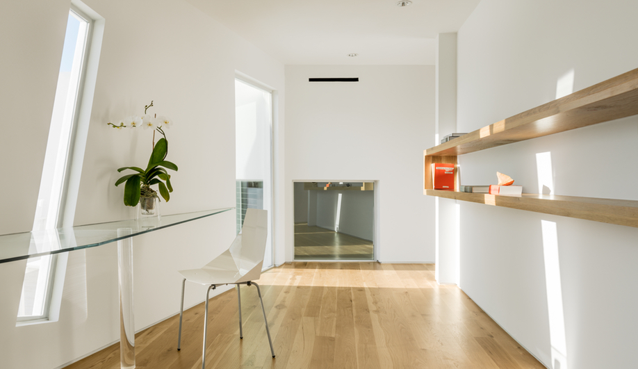 A guest suite in Houston's Transart Foundation for Art and Anthropology