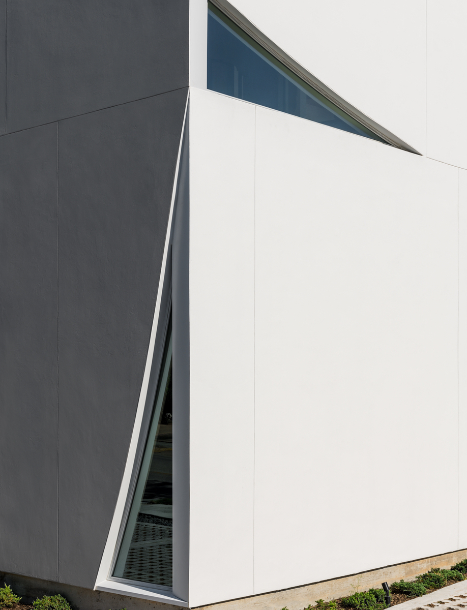 Cut out stucco panels at Houston's Transart Foundation for Art and Anthropology