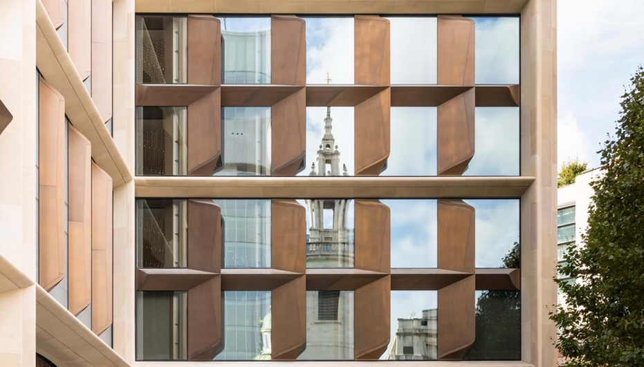 A detail of Foster + Partners' BREAM-awarded Bloomberg HQ in London.