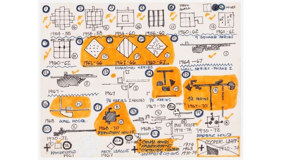 Architecture Itself and Other Postmodernist Myths: John Hejduk. Chronology of projects by John Hejduk: 1954–1974, c. 1974–1979. John Hejduk fonds, CCA.