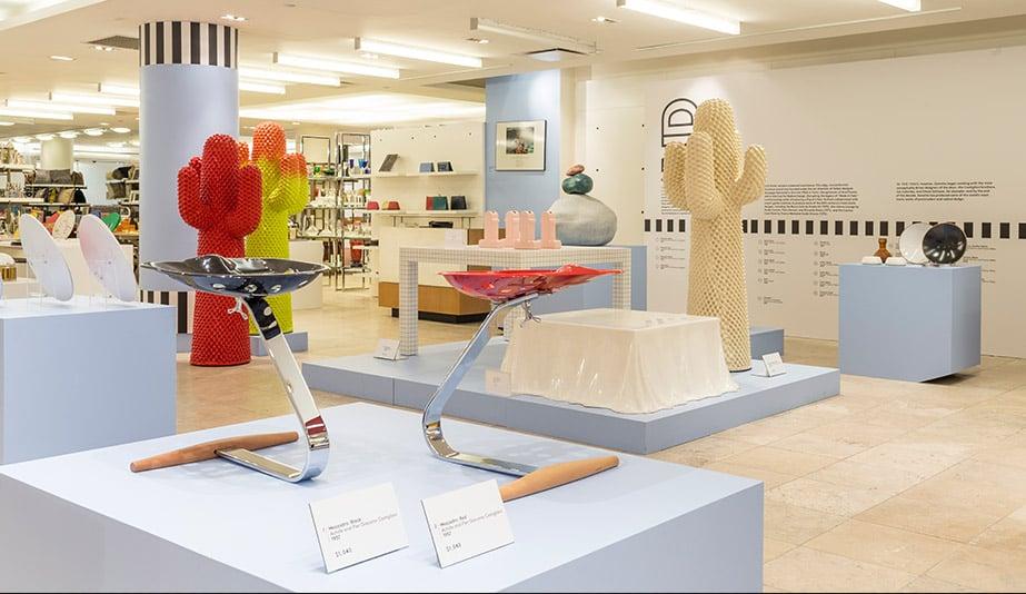 The Barneys Radical Design exhibit: Mezzadro stools by the Castiglioni brothers (1957, Zanotta).