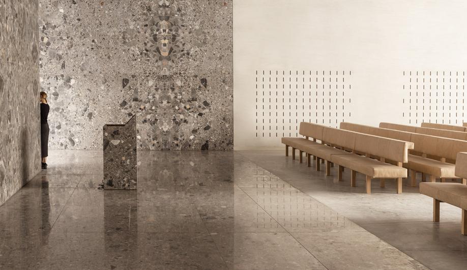 The ceremony hall in KAAN Architecten's modernist Crematorium Siesegem