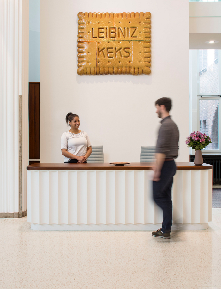 The custom-made reception desk at the Bahlsen headquarters, designed by Freehaus