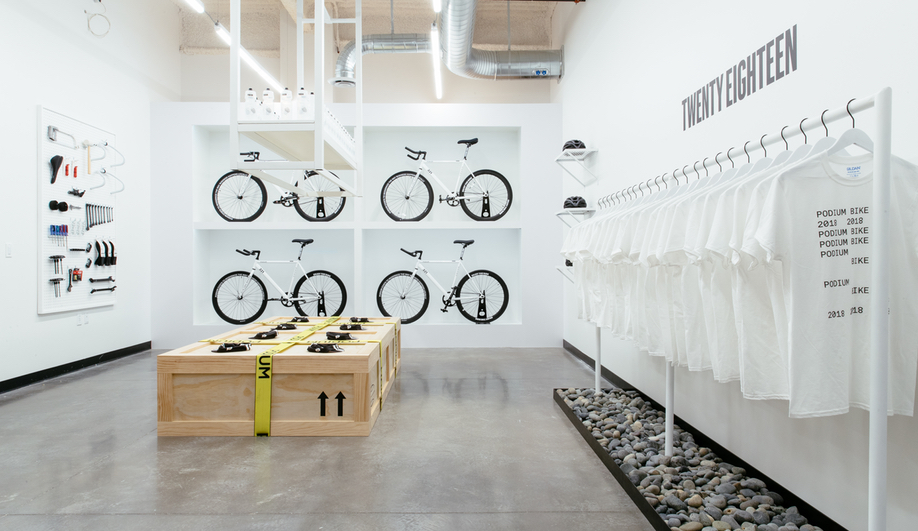 The bike shop in the Podium Office, designed by Untitled MFG's Cory Sistrunk