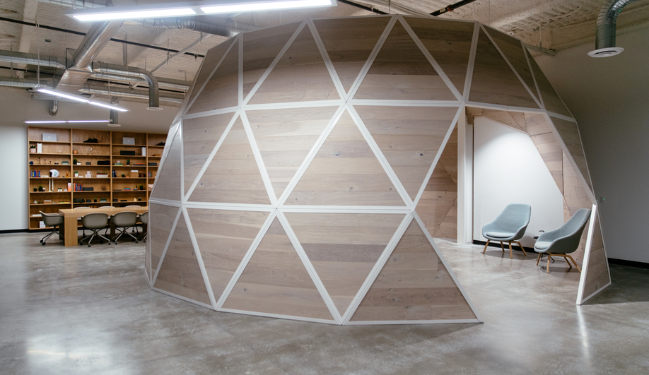 A breakout space in the Podium Office, designed by Untitled MFG's Cory Sistrunk