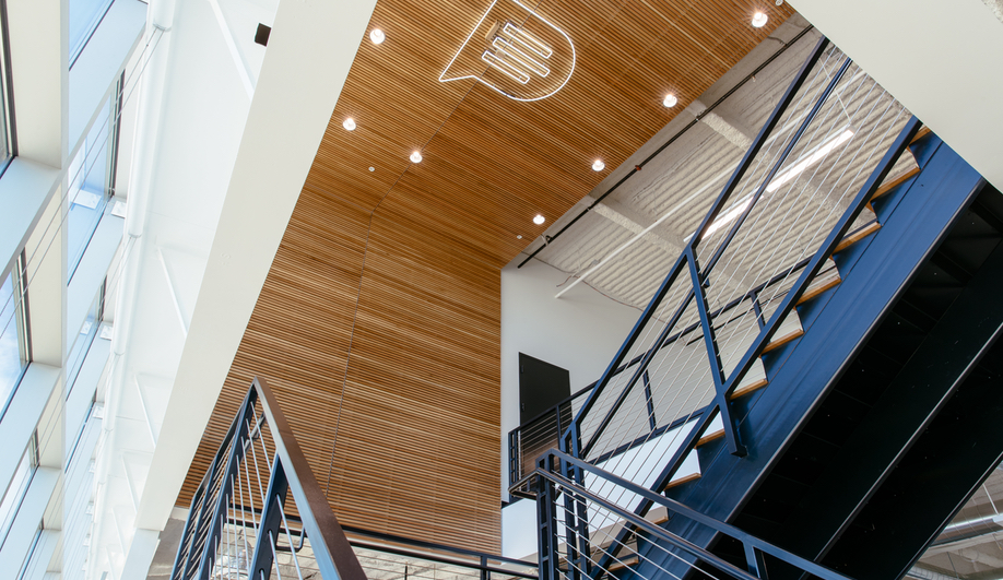 A stairway at the Podium Office, designed by Untitled MFG's Cory Sistrunk