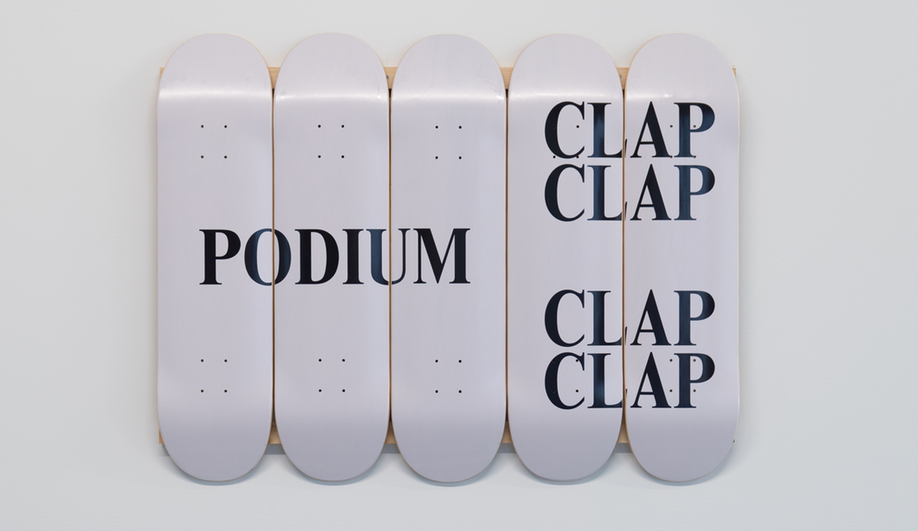 A skateboard installation at the Podium Office, designed by Untitled MFG's Cory Sistrunk