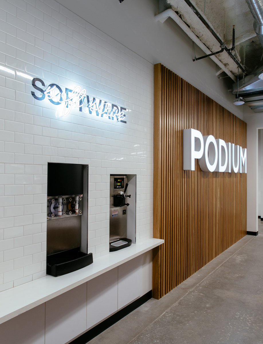 The waiting area in the Podium Office, designed by Untitled MFG's Cory Sistrunk