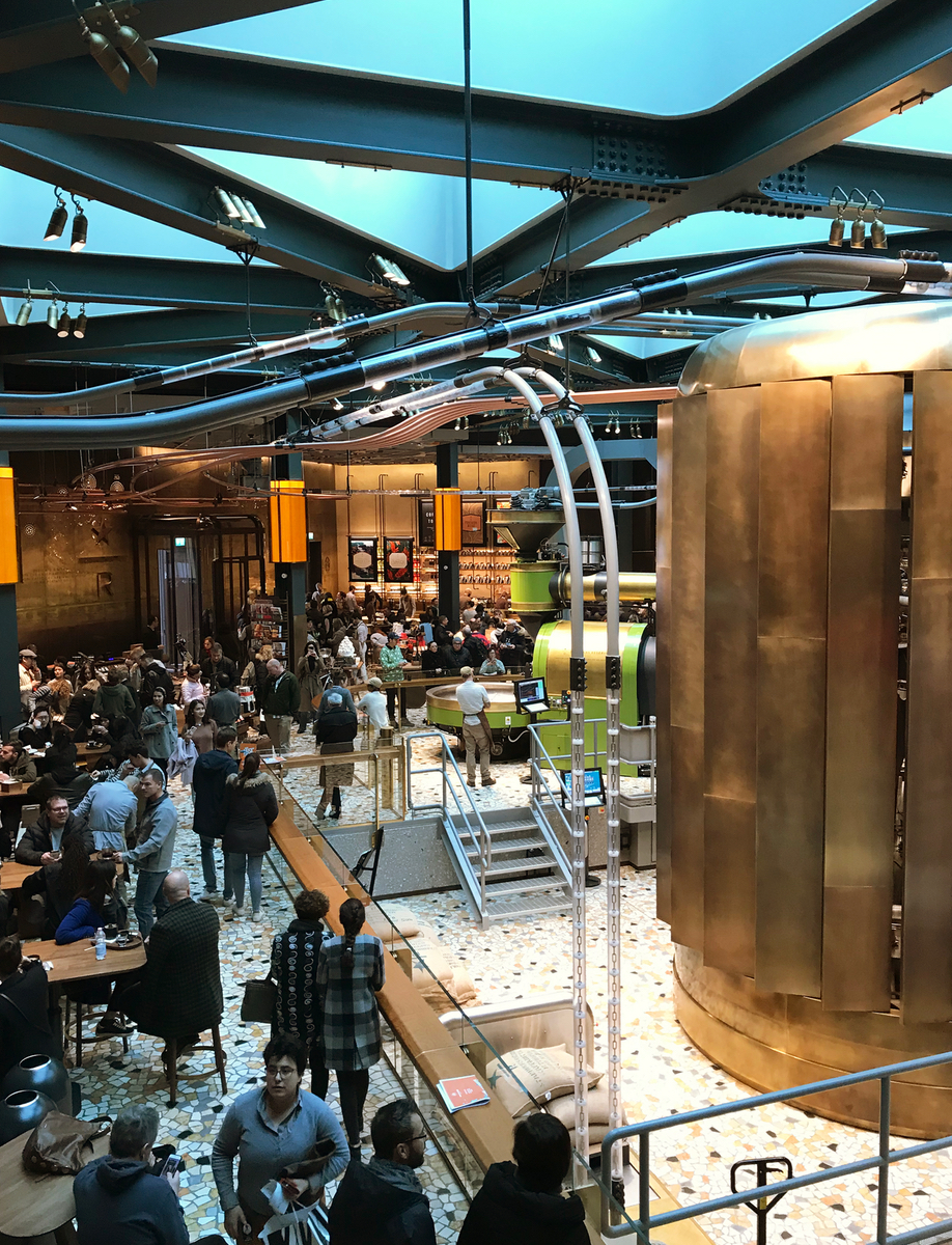 The coffee roaster and cask in Starbucks Milan