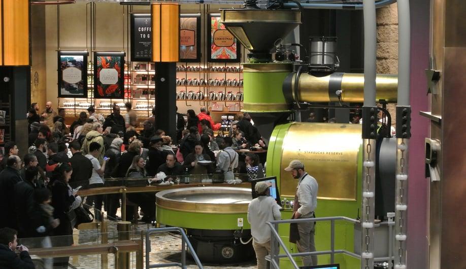 The custom Scolari coffee roasting machine in Starbucks Milan